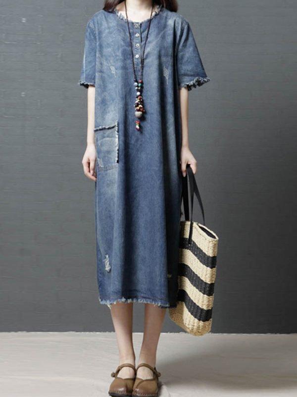 Джинсовое платье с коротким рукавом