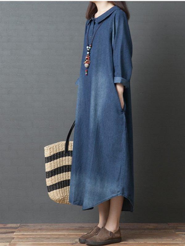 Джинсовое платье с воротником Питер Пен