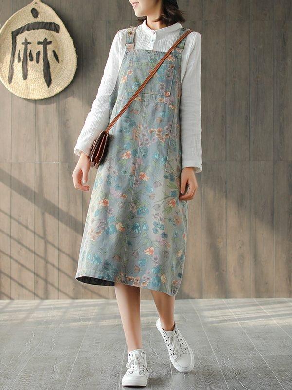 Платье-комбинезон в цветочек : 2 цвета