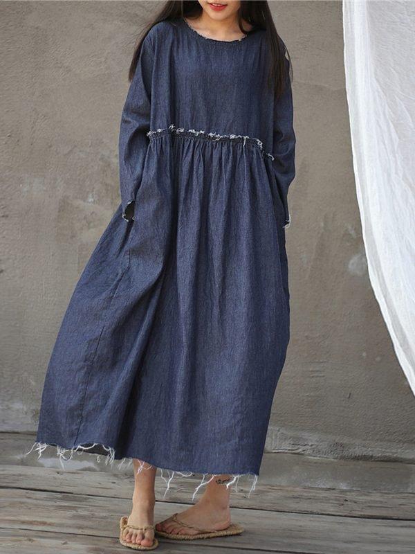 Свободное платье с высокой талией