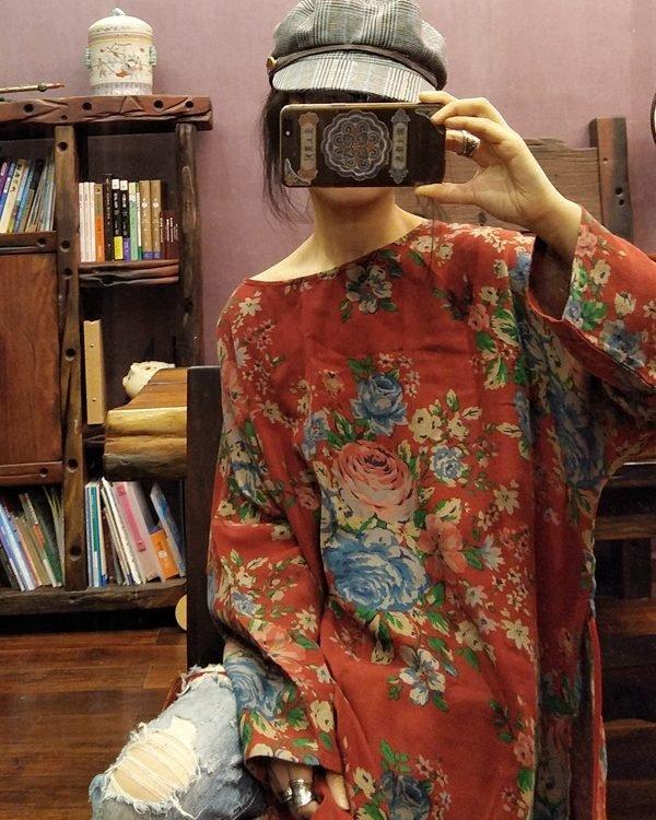 Платье с цветочным принтом в азиатском стиле