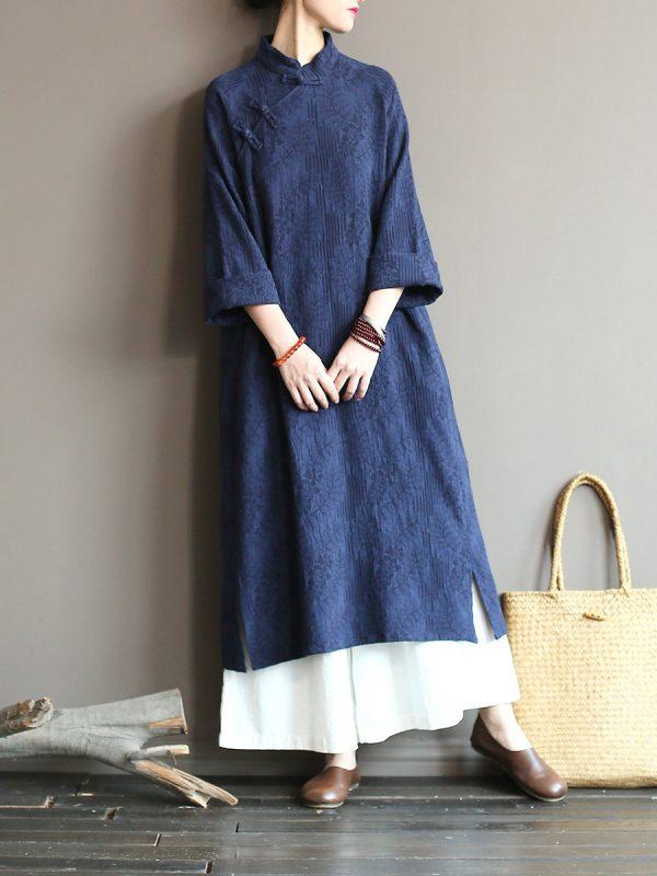 Однотонное винтажное платье в азиатском стиле : 3 цвета