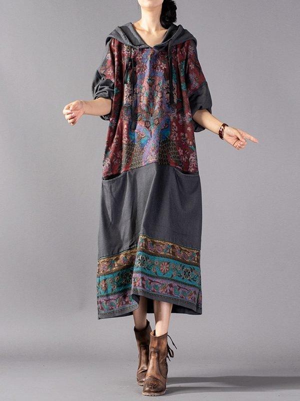 Платье с капюшоном и цветочным принтом : 2 цвета