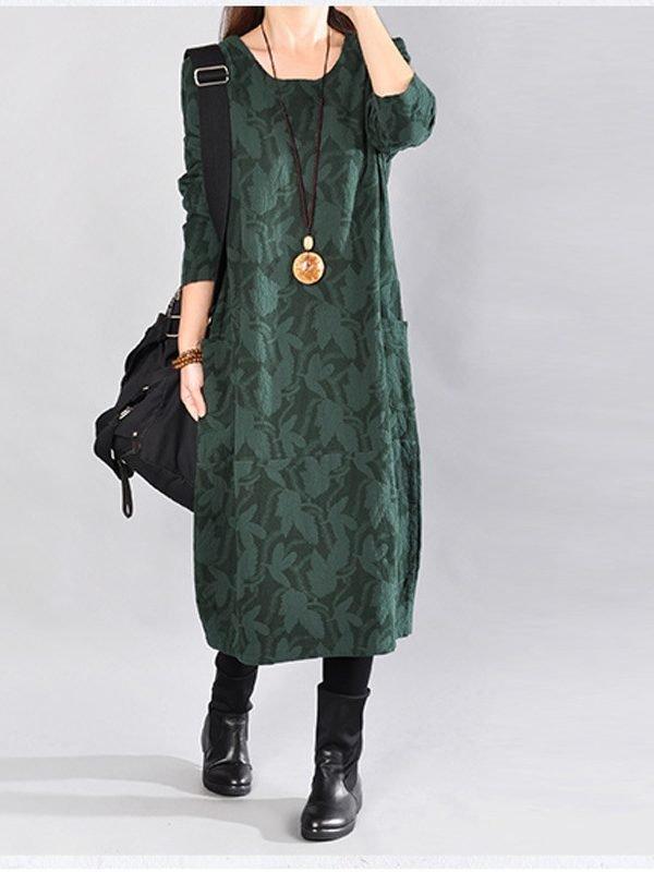 Платье украшенное листьями и с карманами : 3 цвета