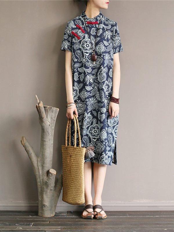 Платье в азиатском стиле со стоячим воротником
