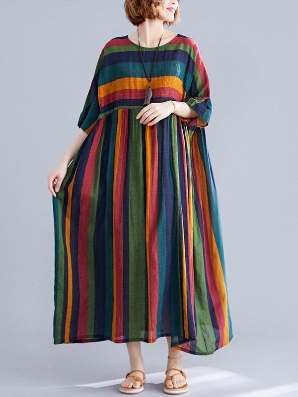 Платье в цветную полоску