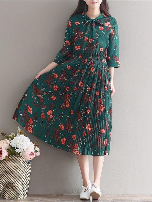 Миди  платье с цветочным принтом
