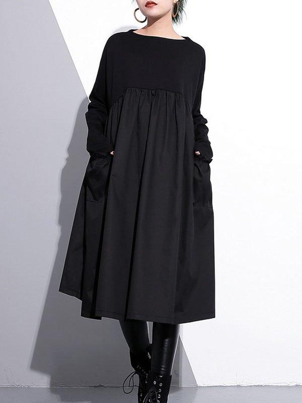 Черное, весеннее платье с О-образным вырезом и длинным рукавом.