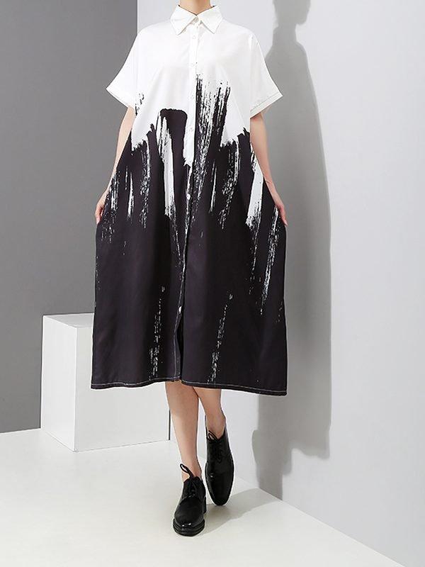 Свободное белое платье-рубашка с рисунком : 4 варианта