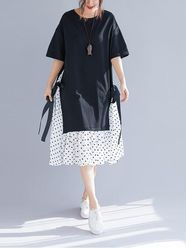 Винтажное платье с юбкой в горошек