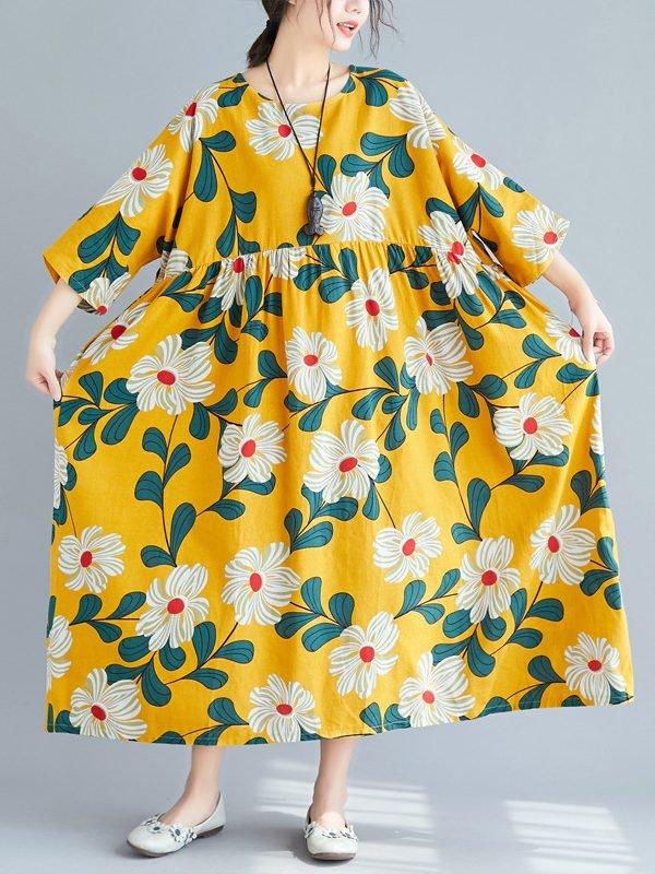 Оверсайз платье, желтого цвета с принтом цветов