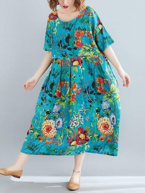 Платье с цветами по всей длинне