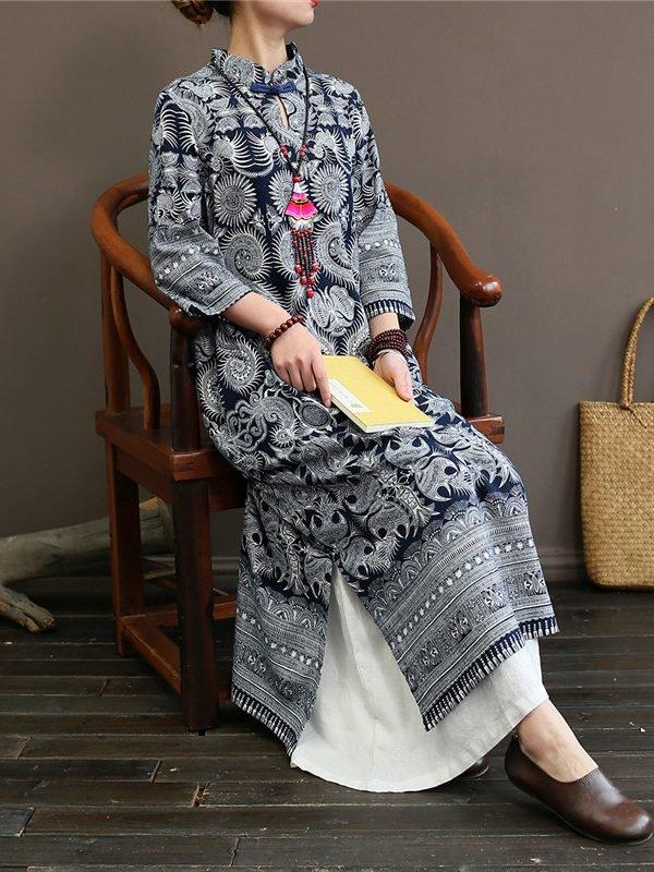 Винтажное платье с принтом в азиатском стиле
