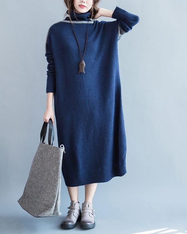 Оверсайз, теплое длинное платье с воротником под горло : 2 цвета