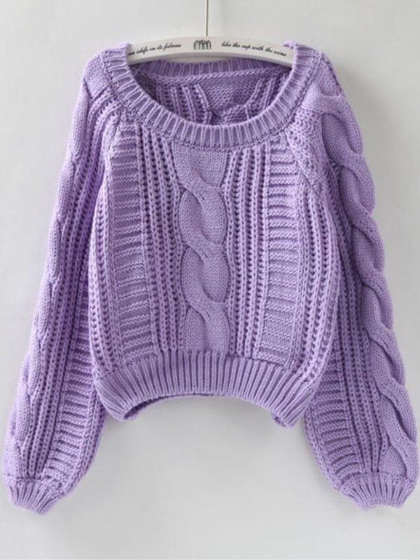 Теплый короткий свитер с широким рукавом : 7 цветов