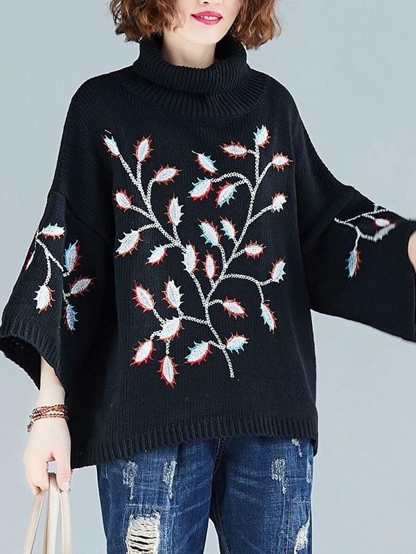 Свободный свитер со стоячим воротником