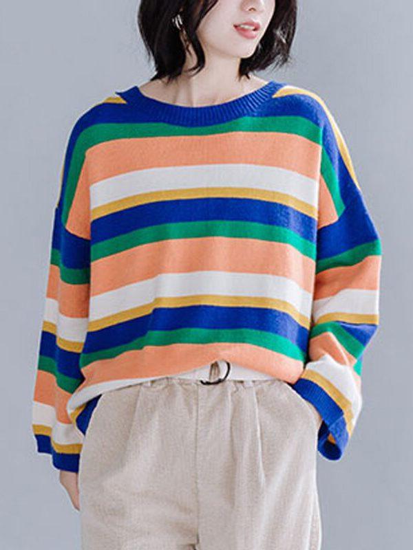 Свободная кофта в цветную полоску : 2 цвета