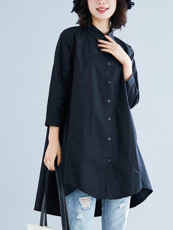 Удлиненная рубашка с расширением к низу : 2 цвета