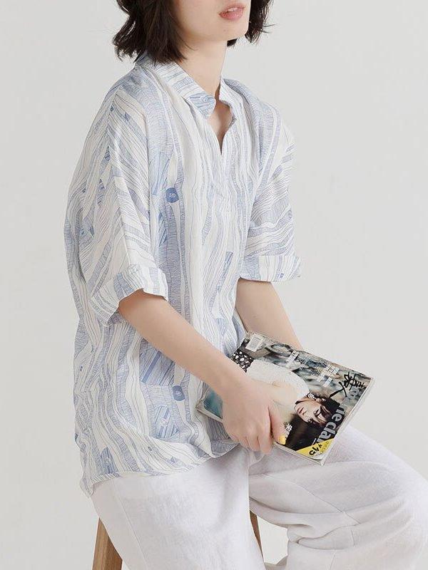 Блузка с абстрактным принтом, легкая и свободная : 2 цвета