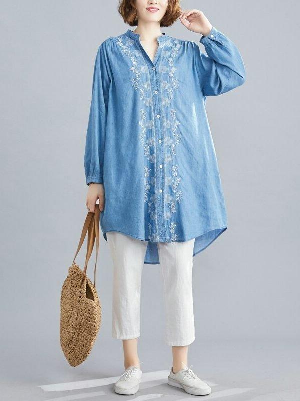Длинная блузка на пуговицах с V-вырезом : 2 цвета