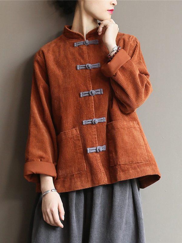 Блузка на пуговицах, в азиатском стиле : 3 цвета
