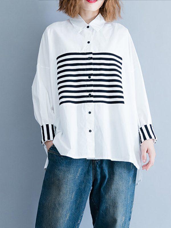 Свободная рубашка с геометрическими линиями