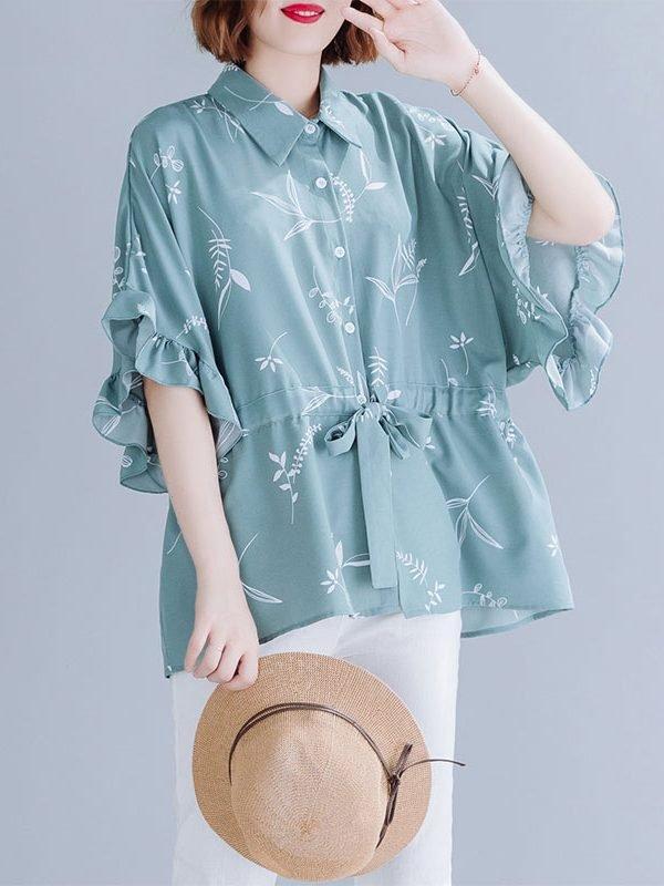 Винтажная блузка на поясе : 2 цвета