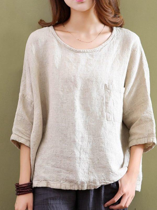 Блузка с круглым вырезом и свободным рукавом : 2 цвета