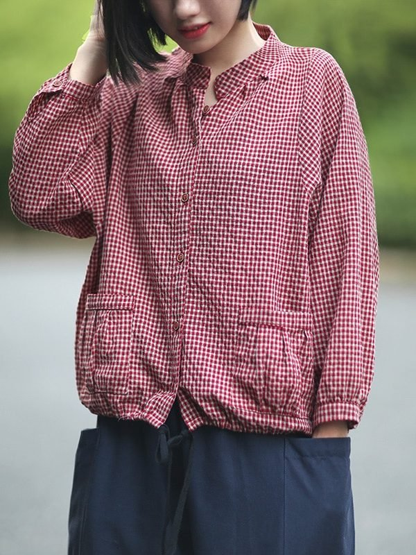 Блузка в клетку, с карманами : 2 цвета
