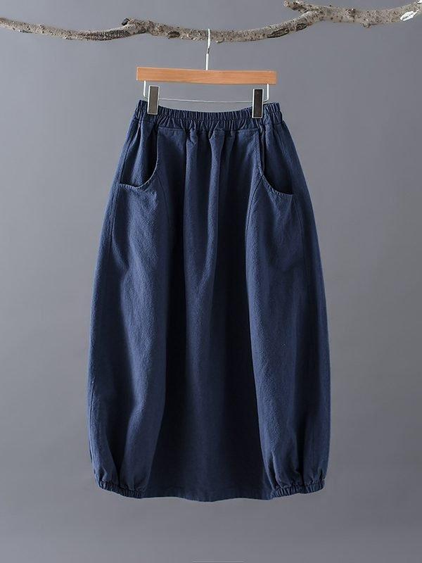 Свободная, демисезонная юбка с карманами : 2 цвета
