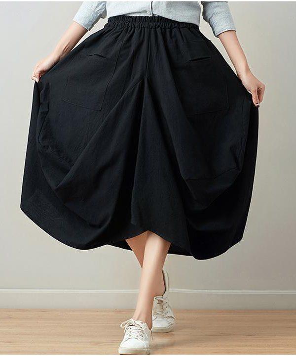 Свободная юбка с карманами с переди : 13 цветов