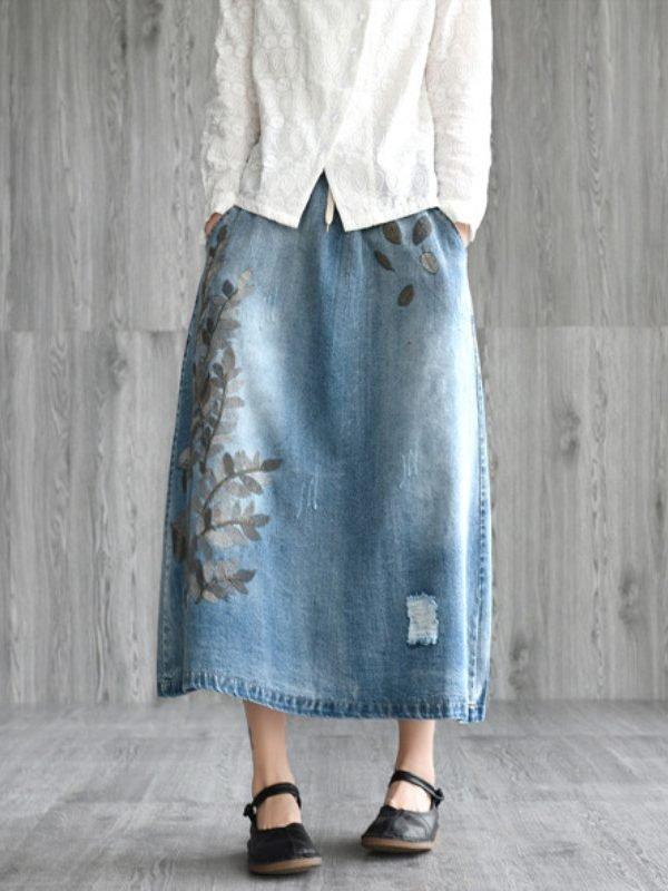 Джинсовая юбка с цветочным рисунком : 2 цвета