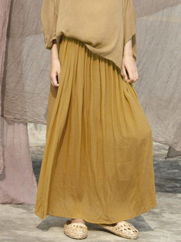 Свободная, винтажная юбка желтого цвета