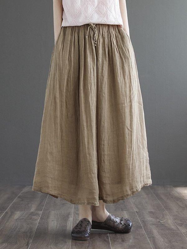Длинная и свободная юбка на завязке : 4 цвета