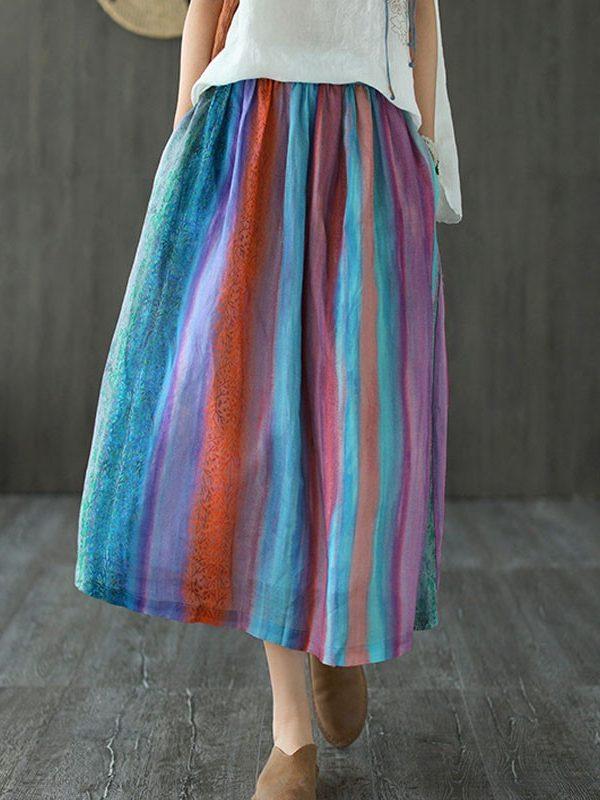Цветная юбка в полоску