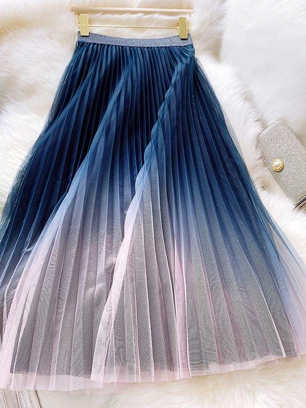 Двухцветная юбка с сеточкой : 3 варианта