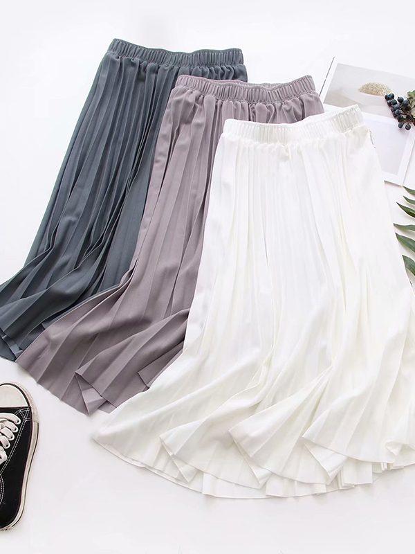Длинная плиссированная юбка с эластичной талией : 7 вариантов
