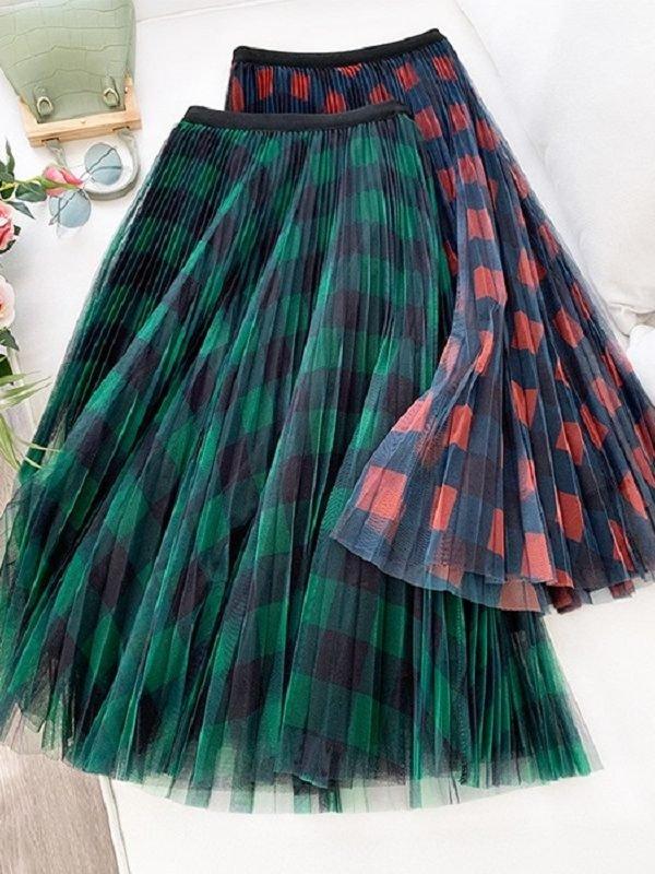 Плиссированная юбка с сеточкой и в крупную клетку : 3 цвета