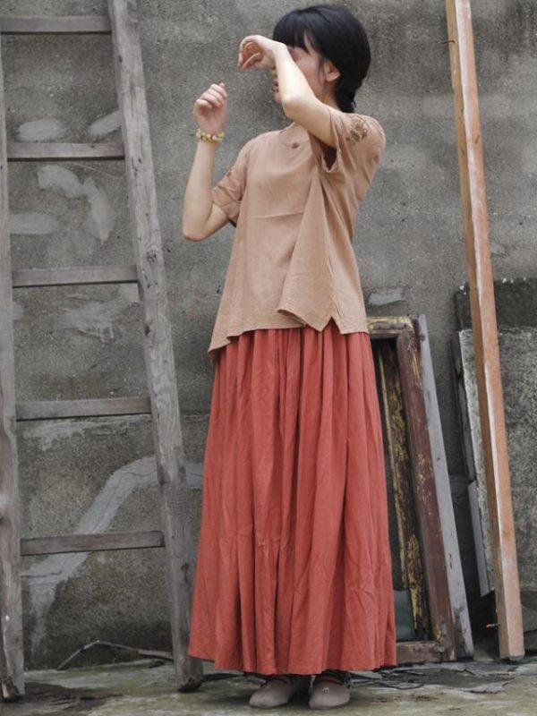 Винтажная юбка грейпфрутового цвета  с эластичной талией