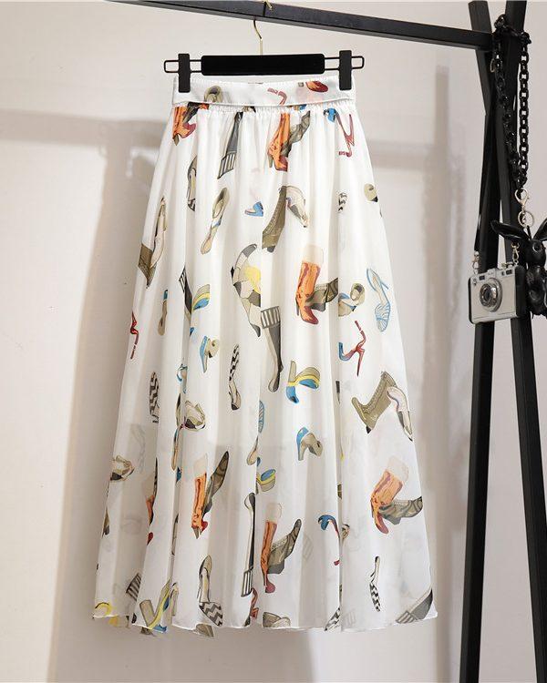 Стильная юбка с поясом и ярким принтом : 10 вариаций