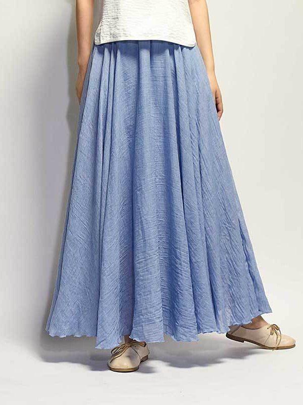 Винтажная, свободная юбка из хлопка и льна : 21 цвет