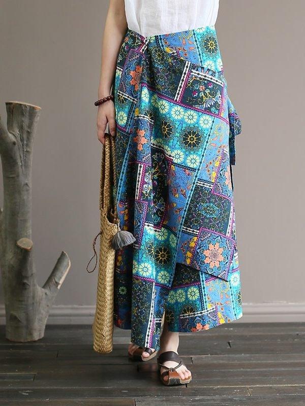 Многоцветная юбка с этническим принтом и поясом : 2 цвета