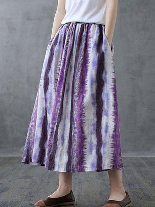 Фиолетовая юбка в полоску с абстрактной раскраской