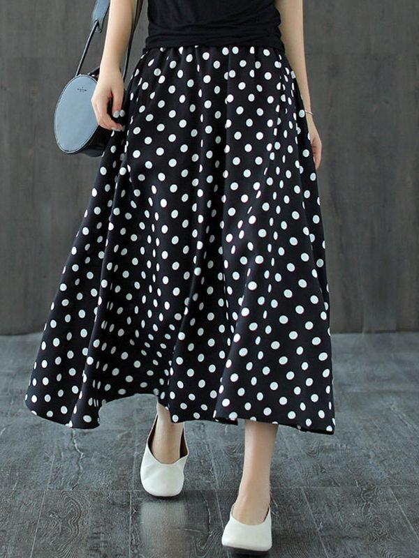 Черная, свободная юбка в гроошек
