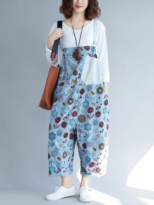 Свободный комбинезон с цветочным принтом и карманом спереди : 3 цвета