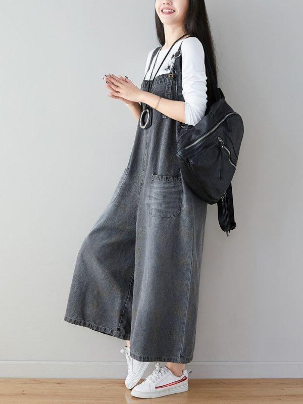 Свободный, джинсовый комбинезон с широкими штанинами