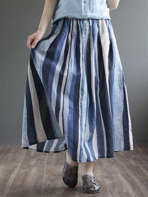 Свободная, длинная юбка в крупную полоску