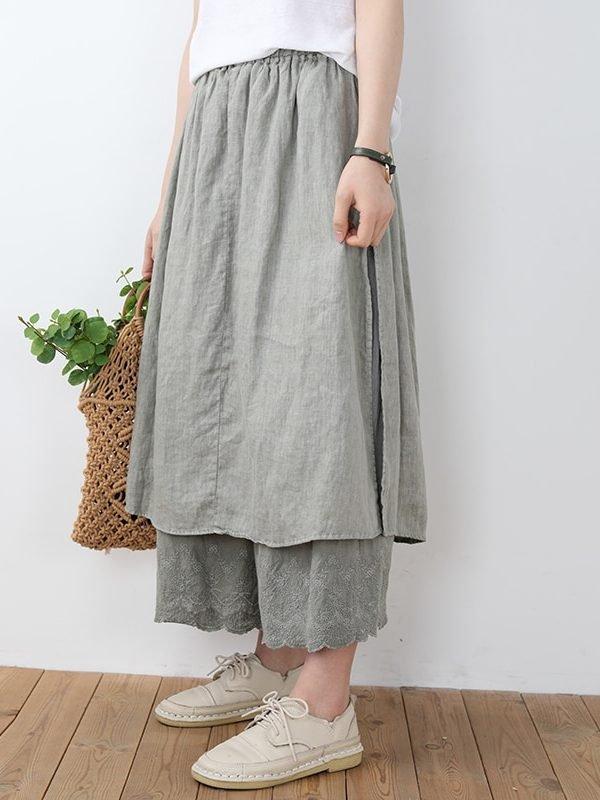 Винтажная юбка с высокой талией и кружевом : 5 цветов
