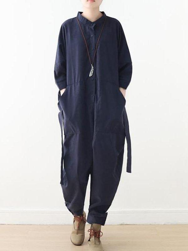 Свободный костюм с поясом и карманами, на пуговицах : 3 цвета