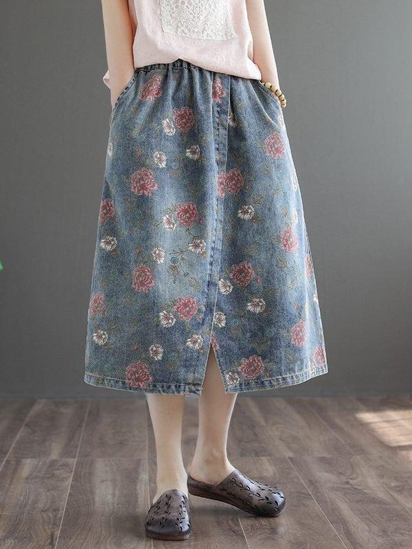Джинсовая юбка с разрезом и цветочным принтом : 2 цвета